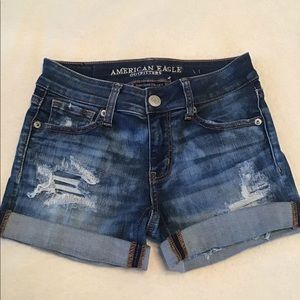 American Eagle Blue Destructed Shorties